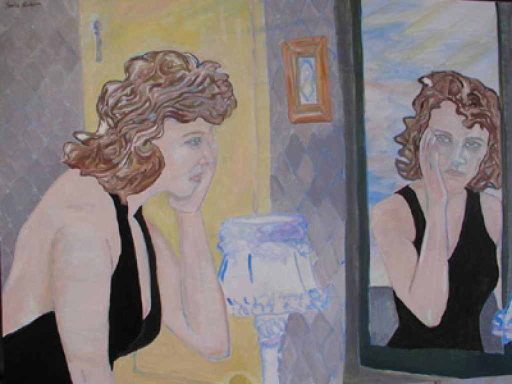 """TRUDY — WHAT HAPPENED? WHAT DID I DO?  48"""" x 36"""" oil on canvas"""