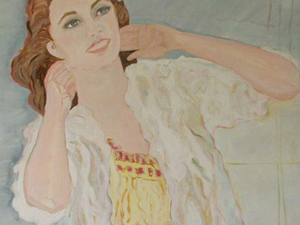 """TRUDY — TRYING TO BE HAPPY 36 """" x 48″ oil on canvas"""
