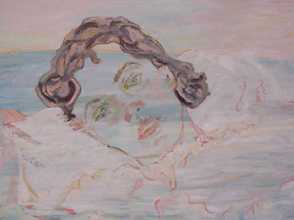 """TRUDY— AWAKENING FROM THE DREAM    60″ x 36"""" oil on canvas"""