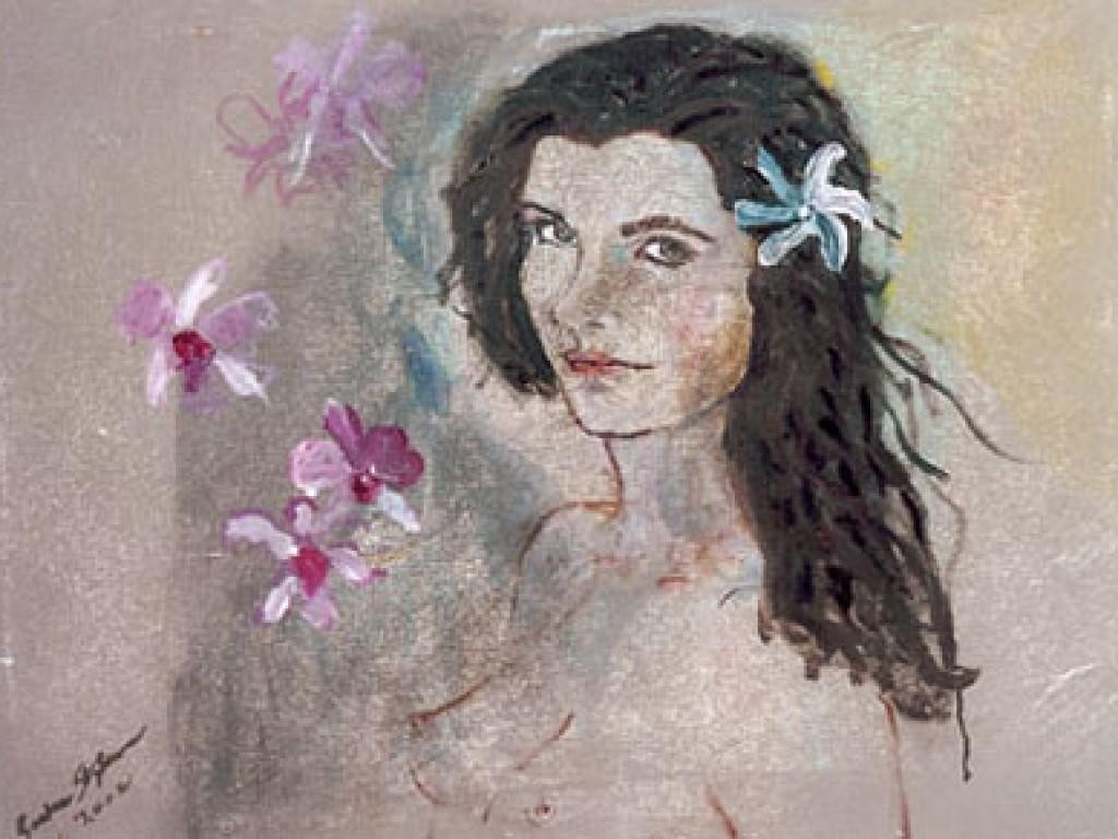 "THE ACTOR — HAWAIIAN HOLIDAY 30 "" x 22″ oil on canvas"