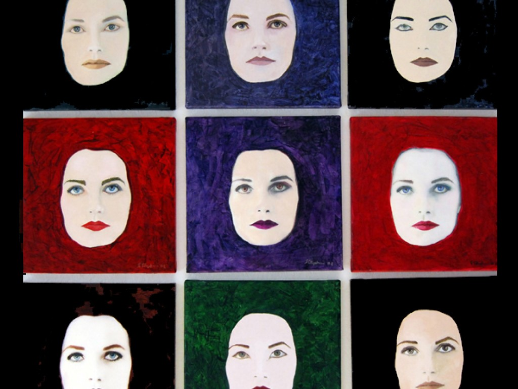 MASK-PERSONA —   NINE FACES OF THE ACTOR  38″ x 38″ mixed media on canvas