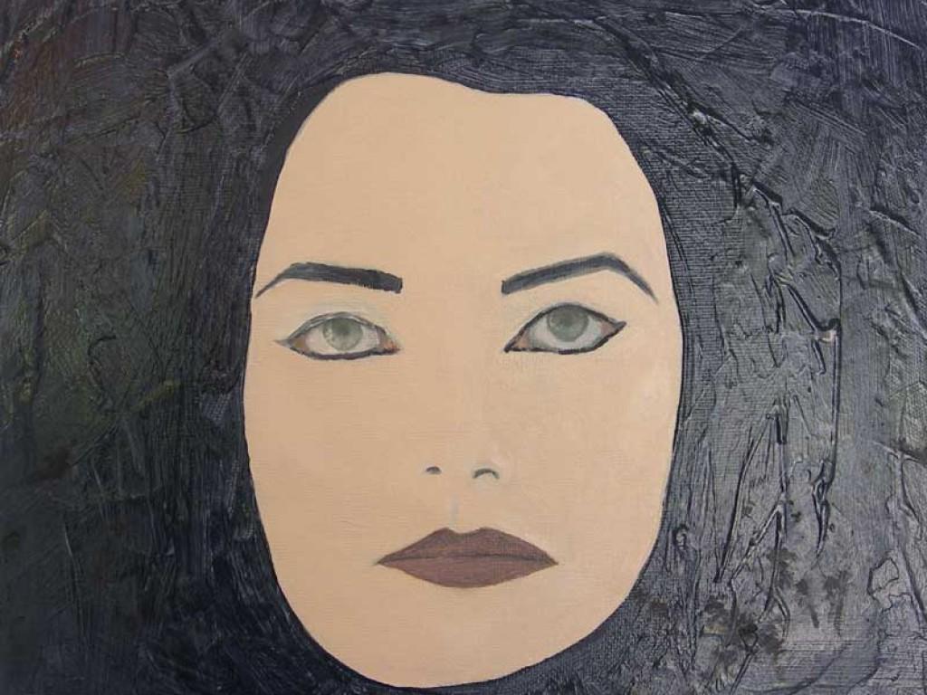 "MASK-PERSONA — I'M HERE, I'M FINE  12"" x 12"" mixed media on canvas"