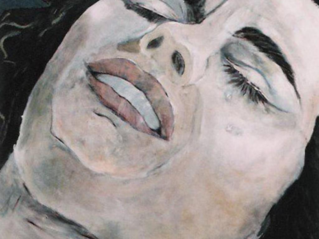 "MISTRESS SHORR— DARK NIGHT OF THE SOUL    36″ x 36"" oil on canvas"